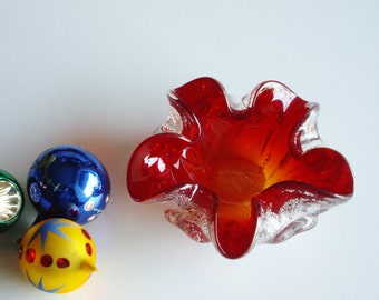Vintage, Murano Glass, Ashtray, Silver and Red, Barovier Toso, Silver Leaf, Red Dish, Mid Century, Gift under 75