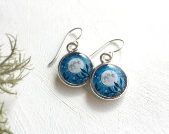 Moon Earrings, Original Illustration of the Night Sky, Mothers Day Earrings, Handcrafted Nature Jewelry, I love you to the Moon and Back