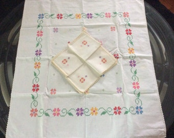 Vintage Ivory Cross Stitched Embroidered  Linen Tablecloth with Napkins, Vintage Embroidery, Vintage Linens, Vintage Dining, Cross Stitch