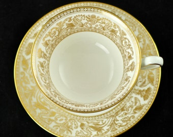 Vintage Wedgwood Gold Florentine Bone China Peony Shaped Footed Cup and Saucer