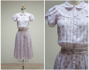 Vintage 1970s Dress • Prairie Roses • Pale Purple Sheer Floral 70s Day Dress by Gunne Sax Size XSmall