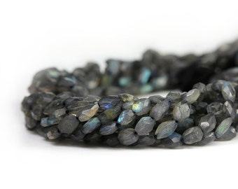 Labradorite Faceted Puffed Oval Beads Grey Color Blue Yellow Flash Semi Precious Gemstones