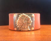 Handmade, Unlined, Southwestern,  Saddle Brown Leather Cuff, Indian Head, Chief, Headdress
