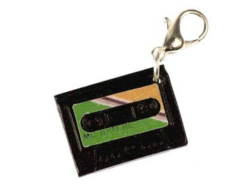 MC cassette tape music Charm Zipper Pull pendant Mixtape Volume Miniblings green