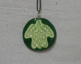 Celtic Sea Turtle Porcelain Pendant - Chrome Green and Lime Green