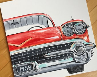 "24""x 24"" vintage red car. Front view, original modern pop art. Add personalization to license plate. Red hot rod, classic. ready to ship"