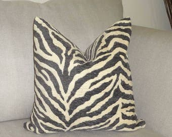 NEW Dark Grey Flocked Tiger Print Pillow Cover Dark Grey Animal Print Pillow Cover 18x18