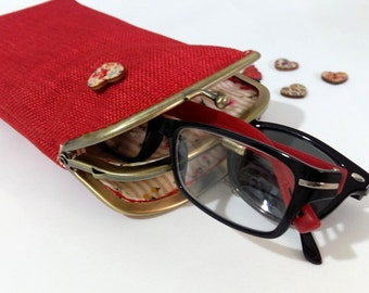 Red Glasses case Double pockets - Sunglasses / Reading case - upholstery fabric - Antique Bronze Frame
