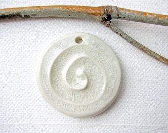 Crystal White Spiral Pendant Stoneware Clay