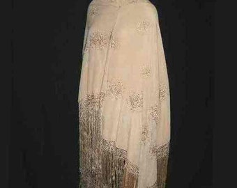 """Vintage 1950s Large Silk Piano Shawl, Ivory Champagne; Flowers Embroidered in Same Color ; 60"""" x 58"""", plus 15"""" Fringe; Excellent Condition"""