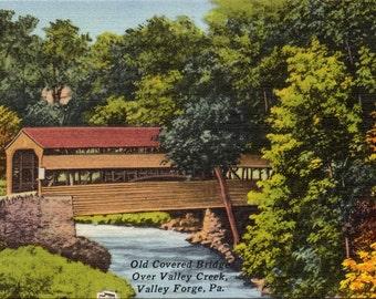 Valley Forge, Pennsylvania, Covered Bridge - Linen Postcard - Postcard - Unused (B1)