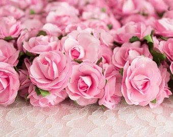 72 Roses / Pink Paper Flowers Bouquets / 30 mm / Roses With Wire Stems / 72 Blossoms Total / Flower Ball / Wedding / Party Favors