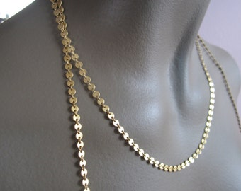 Vintage Matte Gold Plated Brass Small Disc Chain 5ft.