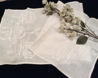 Vintage White on White Embroidered Lotus Flowers and Dragonflies Dresser Scarf