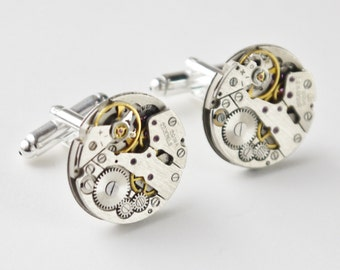 round watch cufflinks - steampunk style vintage watch mechanisms on silver bases