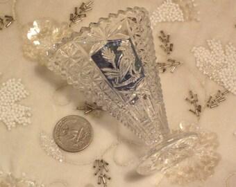 Vintage Hofbauer Blue Byrdes Mini Crystal Fan Vase