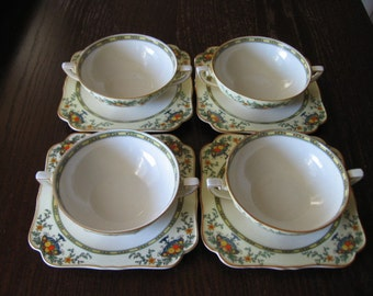 Crown Ducal Ware Soup Boullion Cups and Saucers