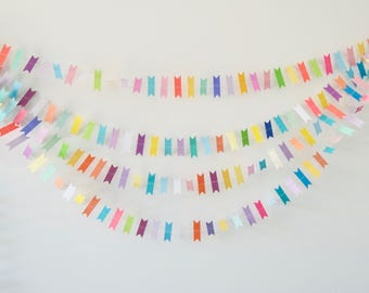 Rainbow Flag Garland, Rainbow Flag Bunting, Paper Flags, Flag Garland, Party Decor, Photo Prop Paper Garland, Paper Decoration