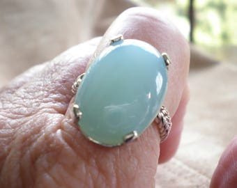 STATEMENT RING - 20mm x 15mm oval chalcedony cabochon with braided style solid 14K white gold band stackable large ring