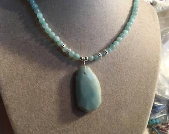 Blue Necklace - Amazonite Jewelry - Sterling Silver Jewellery - Gemstone - Pendant - Beaded