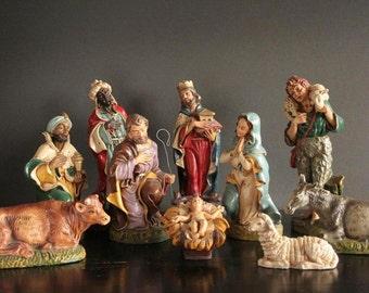 """Nativity set 12"""" scale, Italy, LARGE vintage nativity set"""