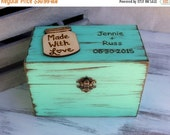 Sale Rustic Recipe Box Painted and Distressed in the COLOR of YOUR CHOICE and Heart or Mason Jar