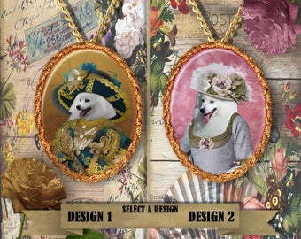 Japanese Spitz Jewelry.Japanese Spitz Pendant or Brooch.Japanese Spitz Necklace.Japanese Spitz Portrait.Custom Dog Jewelry.Handmade Jewelry