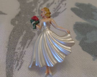 Vintage Plastic Bride Pin  ~ Figural Brooch