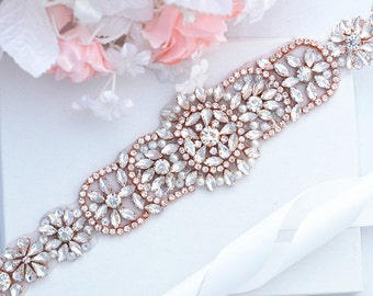 ROSE GOLD Wedding Belt, Bridal Belt, Sash Belt, Crystal Rhinestones & Pearls sash party sash,vintage sash belt