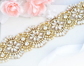 JULIE crystal beaded wedding bridal sash belt