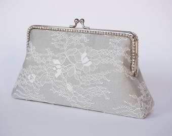 Gray Rhinestone Evening Clutch Bag / Grey Silk Handbag / Silver wristlet / Bridal Clutch