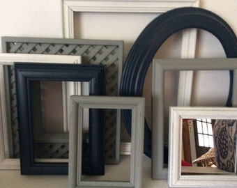 Navy Blue Grey White Picture Frames Mirror - Distressed -  Modern Cottage  - Set Of 7 - Baby Nursery - Boys Room -  Wall Gallery - Wedding