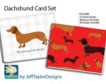 Dachshund Stationary Notecard Set - 10 Notecards with Envelopes (Blank Inside)