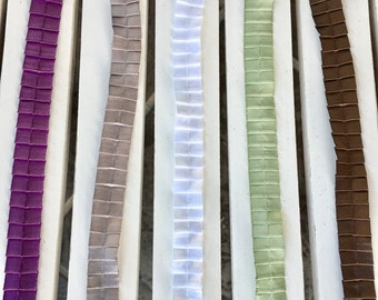 May Arts 5/8 inch Satin/Pleats Ribbon in plum, silver, white, sage or brown, sold/yard, scrapbook, card, sewing, embellishment, wreath