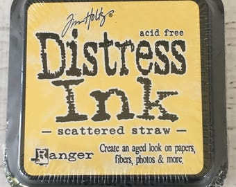 Tim Holtz Distress Ink Pad in Scattered Straw, by Ranger,  water reactive  for Scrapbooking, Cardmaking, art journaling, mixed media, stamps
