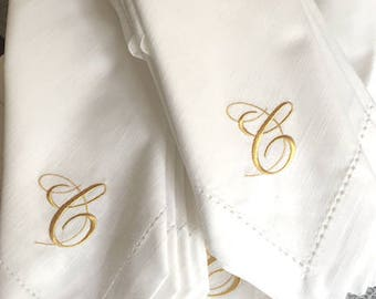monogrammed cloth napkinswhitetulipembroidery on etsy