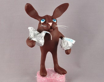 Valentine's Day Chocolate Bunny with Candy Kisses Polymer Clay Figurine