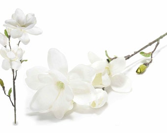 Magnolia Artificial Branches 3 White Flowers