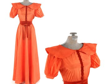 Vintage 1930's Coral Orange Art Deco Puffy Sleeve Velvet Massive Sweep Evening Party Depression Dress S