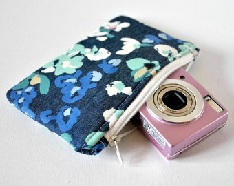 Watercolor gadget point and shoot padded camera make up cosmetics pouch paint effect denim chambray print fabric in blue,green and white.