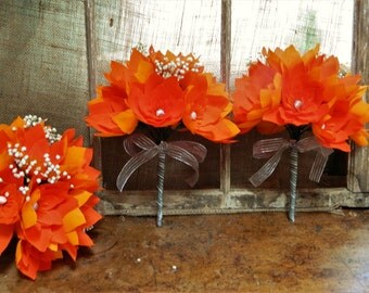 Sweet nectarine - Set of 3 bouquets - Crepe paper flowers with baby's breath