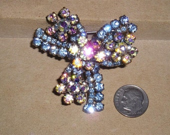 Vintage Layered Brooch With Baby Blue And Iridescent Crystal Rhinestones Late 1950's Jewelry 7009