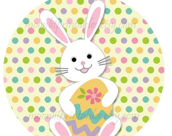 24 STICKERS Easter Bunny Stickers,  Personalized Easter Stickers, Easter Basket Stickers, Easter Envelope Labels (649)