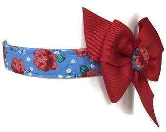 Chambray Rose Floral Dog Collar size Large
