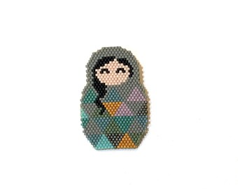 Russian Doll Matrioshka Beadwoven Brooch Miyuki Delica Seed Beads Graphic Collection