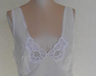 Vintage Camisole White Cotton Blend Cami Size 38