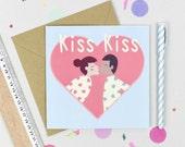 Kiss Kiss Valentines Loveheart card