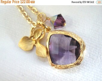 SALE Purple Necklace, Orchid Necklace, Flower Necklace, Glass Crystal Necklace, Gold Necklace, Swarovski, Bridesmaid Necklace, Bridesmaid Gi