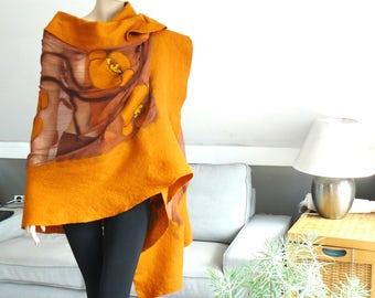 Nuno felted shawl - large scarf - wool and silk - holiday shawl  yellow flower