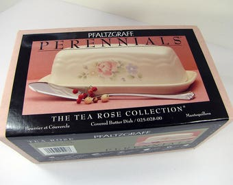 Vintage Pfaltzgraff TEA ROSE BUttER DiSH 2 pc NEW in Never Opened Box Stoneware NiP